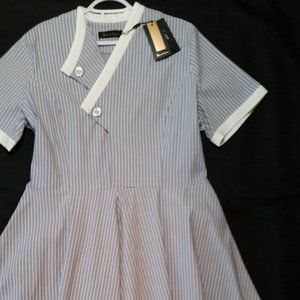 XXL  grey and white striped career dress w/tags